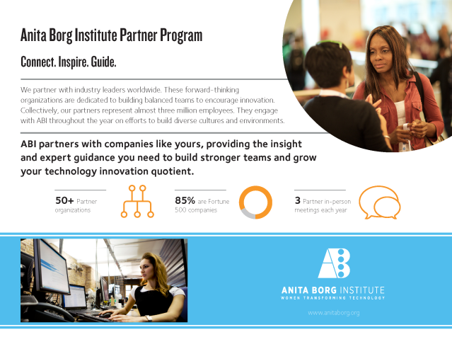 Flyer example about the Anita Borg Institute partner program